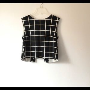 Mango Black and White Check Crop Top S